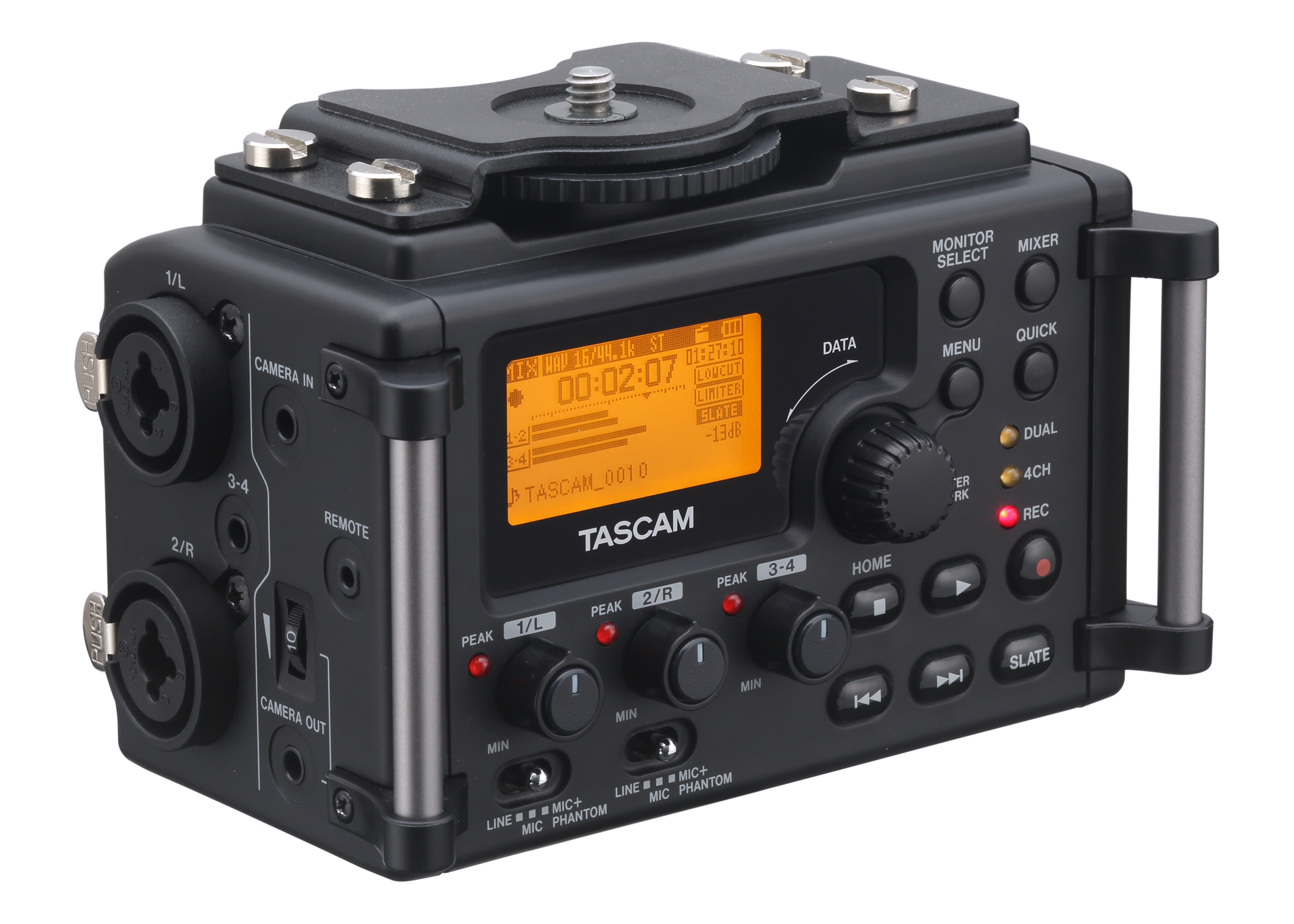 Tascam dr-60d DSLR audio recorder and mixer.